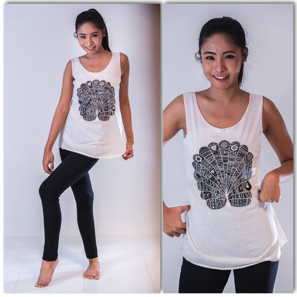 Super Soft Womens Peacock Tank Top White