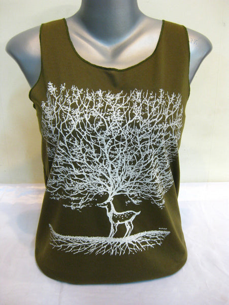 Super Soft Womens Bambi Tree Tank Top Olive