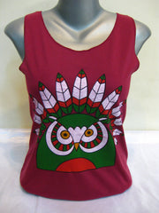 Super Soft Womens Chief Owl Tank Top Maroon