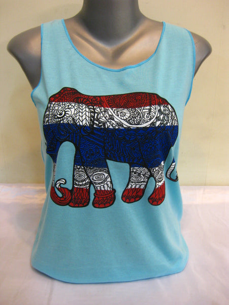 Super Soft Womens Tribal Elephant Tank Top Blue
