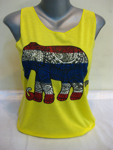 Super Soft Womens Tribal Elephant Tank Top Yellow