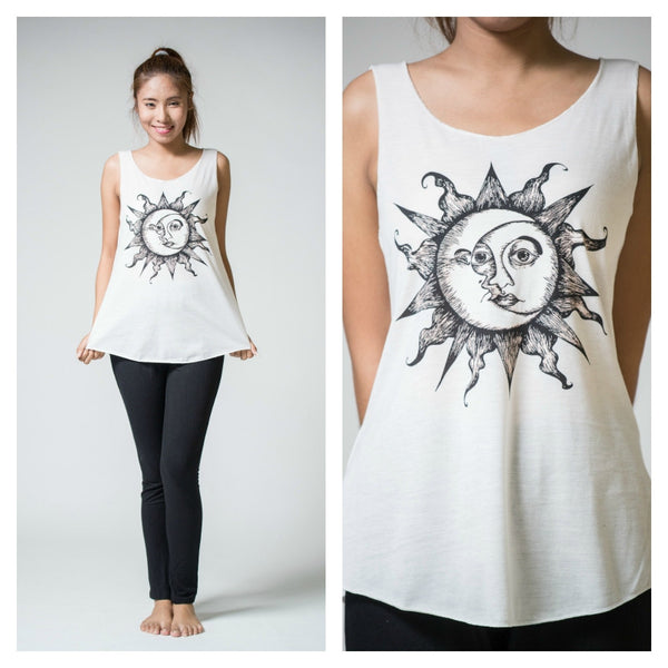 Super Soft Cotton Women's Tank Sun Moon White