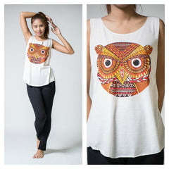Super Soft Cotton Women's Tank Trippy Owl White
