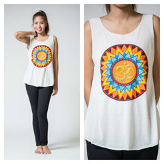 Super Soft Cotton Women's Tank Trippy Om White
