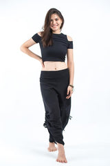 Women's Cotton Side Drawstring Palazzo Pants in Black