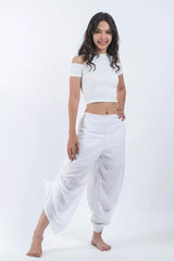 Women's Cotton Side Drawstring Palazzo Pants in White