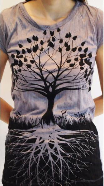 Sure Design Womens T-Shirts Tree of Life in Gray