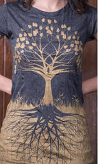 Sure Design Womens T-Shirts Tree of Life in Gold on Black