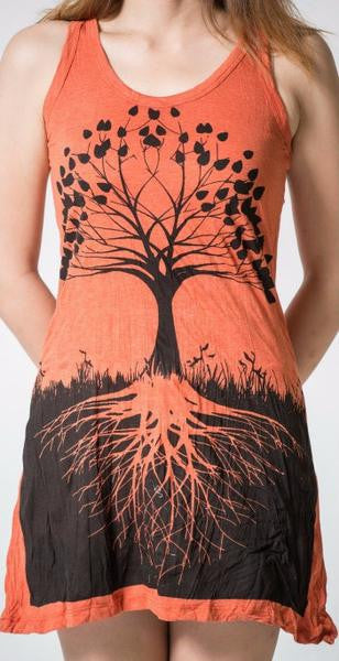 Sure Design Womens Tank Dress Tree of Life in Orange