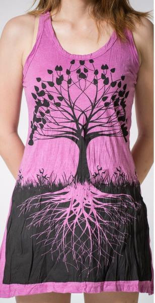 Sure Design Womens Tank Dress Tree of Life in Purple