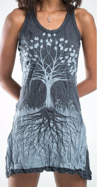 Sure Design Womens Tank Dress Tree of Life in Silver on Black