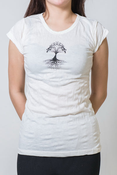 SureDesign Women's Super Soft Tshirt Tree Of Life White
