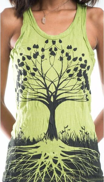 Sure Design Womens Tank Top Tree of Life in Lime