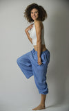 The Best Super Soft Cotton Yoga Pants Ever Elastic Waist Blue