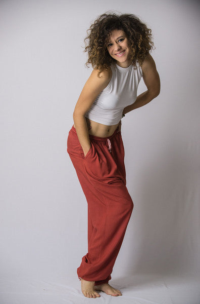 The Best Super Soft Cotton Yoga Pants Ever Elastic Waist Red