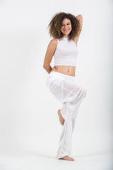 The Best Super Soft Cotton Yoga Pants Ever Elastic Waist White
