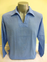 Mens Thai Cotton Yoga Long Sleeve Shirt With Collar Blue