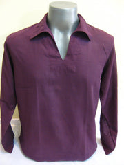 Mens Thai Cotton Yoga Long Sleeve Shirt With Collar Dark Purple