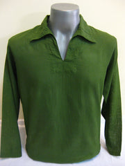 Mens Thai Cotton Yoga Long Sleeve Shirt With Collar Green