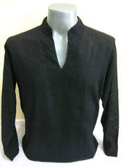Mens Thai Cotton Yoga Long Sleeve Shirt Black