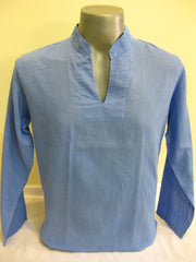 Mens Thai Cotton Yoga Long Sleeve Shirt Blue