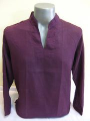 Mens Thai Cotton Yoga Long Sleeve Shirt Dark Purple