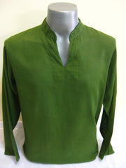 Mens Thai Cotton Yoga Long Sleeve Shirt Green