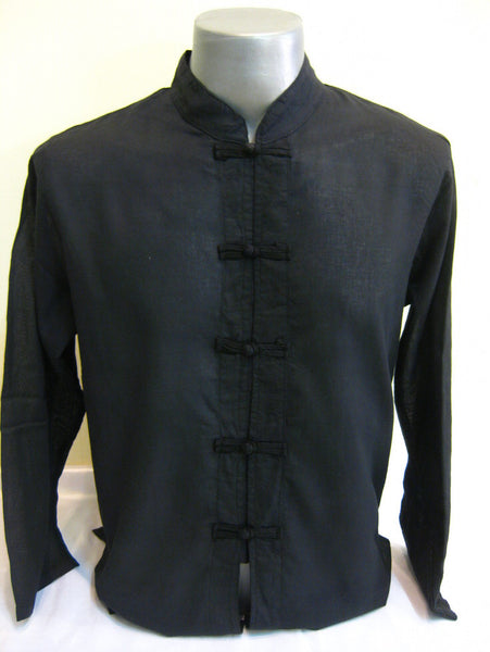 Mens Thai Cotton Yoga Long Sleeve Shirt With Chinese Knot Buttons Black