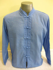 Mens Thai Cotton Yoga Long Sleeve Shirt With Chinese Knot Buttons Blue