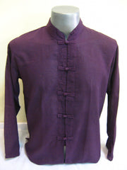 Mens Thai Cotton Yoga Long Sleeve Shirt With Chinese Knot Buttons Dark Purple