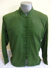 Mens Thai Cotton Yoga Long Sleeve Shirt With Chinese Knot Buttons Green