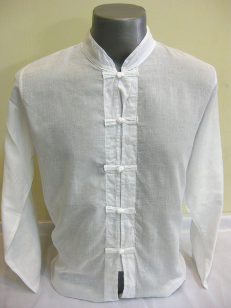 Mens Thai Cotton Yoga Long Sleeve Shirt With Chinese Knot Buttons White