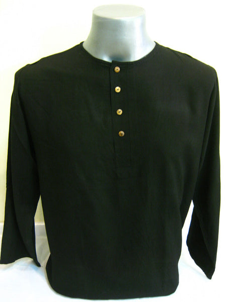 Mens Thai Cotton Yoga Long Sleeve Shirt With Buttons Black