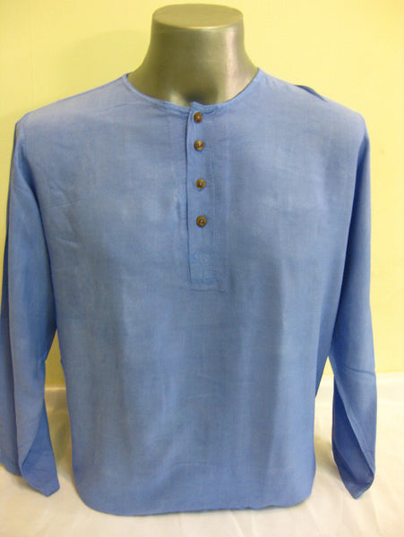 Mens Thai Cotton Yoga Long Sleeve Shirt With Buttons Blue