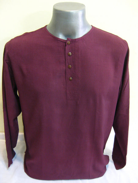 Mens Thai Cotton Yoga Long Sleeve Shirt With Buttons Dark Purple