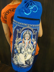 Blue Embroidered Ohm + Ganesha Print Cotton & Hemp Yoga Mat Bag