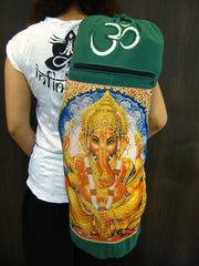 Green Embroidered Ohm + Ganesha Print Cotton & Hemp Yoga Mat Bag