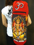 Red Embroidered Ohm + Ganesha Print Cotton & Hemp Yoga Mat Bag