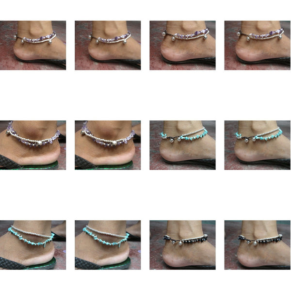 Wholesale Lot Of 100 Thai Hill Tribe Stone Anklets