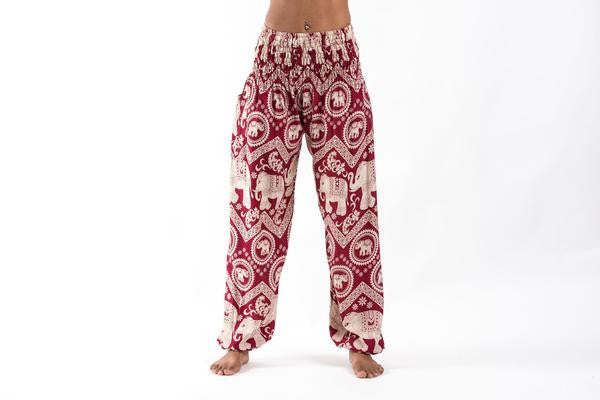 Imperial Elephant Harem Pants in Red