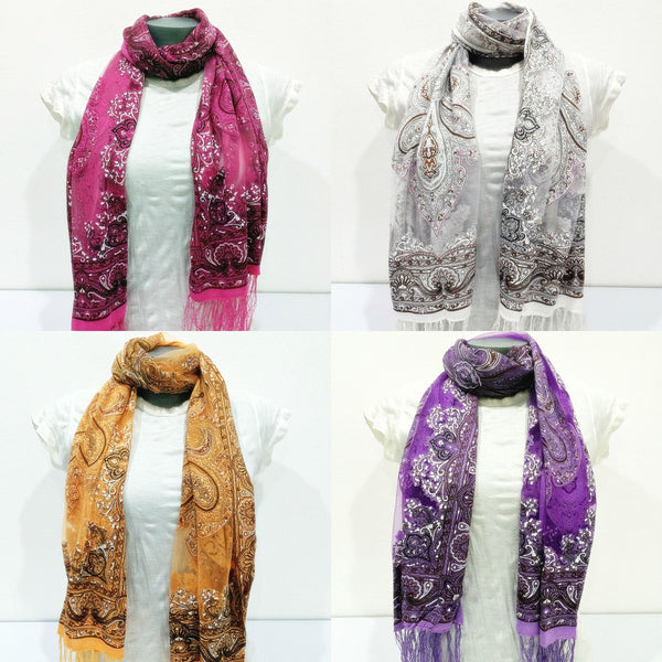 Wholesale Set of 10 Nepal Fair Trade Pashmina Scarves Silky Lace