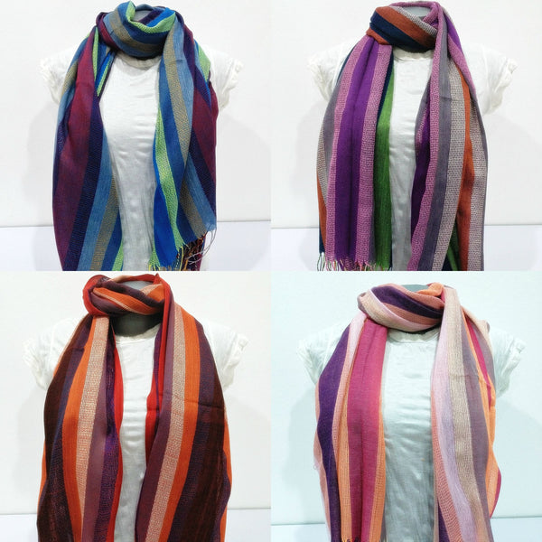 Wholesale Set of 10 Nepal Fair Trade Pashmina Scarves Striped