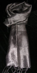 100% Fair Trade Thai Silk Solid Color Scarf Shawl Ash Silver