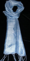 100% Fair Trade Thai Silk Solid Color Scarf Shawl Light Blue