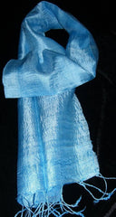 100% Fair Trade Thai Silk Solid Color Scarf Shawl Sky Blue