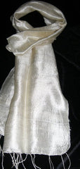 100% Fair Trade Thai Silk Solid Color Scarf Shawl White