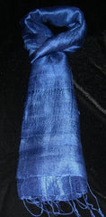 100% Fair Trade Thai Silk Solid Color Scarf Shawl Indigo Blue
