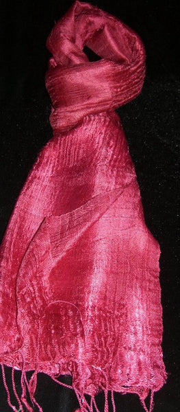 100% Fair Trade Thai Silk Solid Color Scarf Shawl Rose Pink