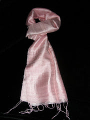100% Fair Trade Thai Silk Solid Color Scarf Salmon