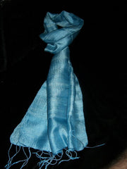 100% Fair Trade Thai Silk Soft Scarf Shawl Sky Blue
